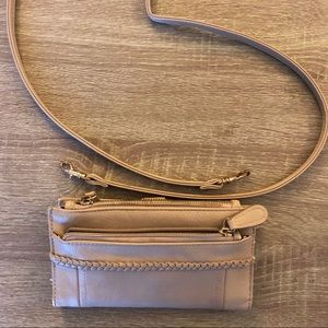 Beige Crossbody Satchel /Clutch + Detachable Sling